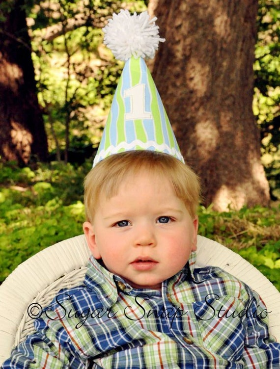 First  Birthday Party Hat - Lime Green, Blue and White - 1st Birthday Keepsakes - Ready to Ship