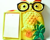 RETRO VINTAGE MOD: 1970 Yellow and Green Miller Chalkware Owl With Glasses and Original Paper Tablet.