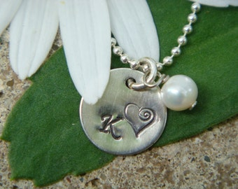 Hand Stamped Initial Necklace w/ Freshwater Pearl or Birthstone Crystal