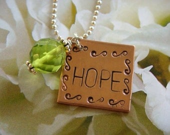 HOPE Square Copper Disk with Dark Peridot Crystal