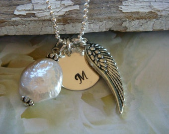 Initial Necklace with angel wing charm