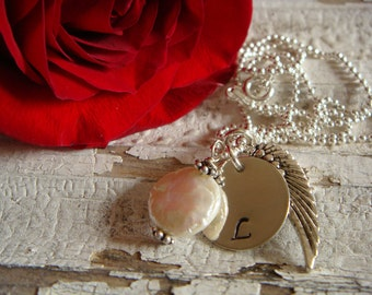 Beautiful Initial Necklace or Remembrance Necklace with Angel Wing and White Coin Pearl