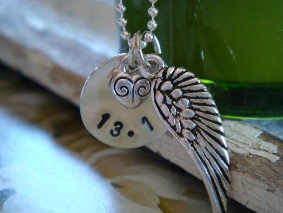 13.1 Half Marathon Sterling Silver Necklace - Wind Beneath My Wings
