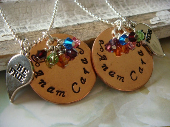 Hand Stamped BFF Best Friend Necklace - Anam Cara - Soul Friend Personalized Charms pendant necklace