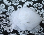 "WHITE Sheer ROSE Hair 4"" Flower clip...On a Non-Slip Grip Hair clip...Bridal, wedding"