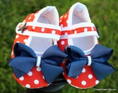 1 Pair of 4th of July, Baby Crib Shoes ReD, WHiTe, and BLue with a cute lil' star on the buckle ...CHooSe UR SiZe 0-12 months
