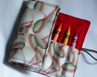 Boys or girls sports red baseball crayon roll or mini marker holder , crayon holder , birthday  gift, party gift. -Holds 8crayons