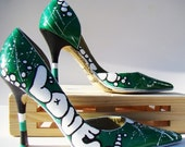 Upcycled Urban Hand Painted Shoes - Green