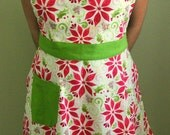 Red Poinsettias and Evergreen Full Apron