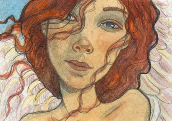 Angel...original aceo...watercolor illustration