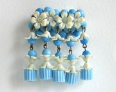 Vintage Brooch with Blue and White Flowers and Synthetic Beads, Genuine Jablonex Brooch, Baroque   Brooch