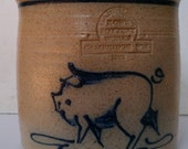 Hand Made Rowe Pottery Works Crock with Cobalt Blue Pig