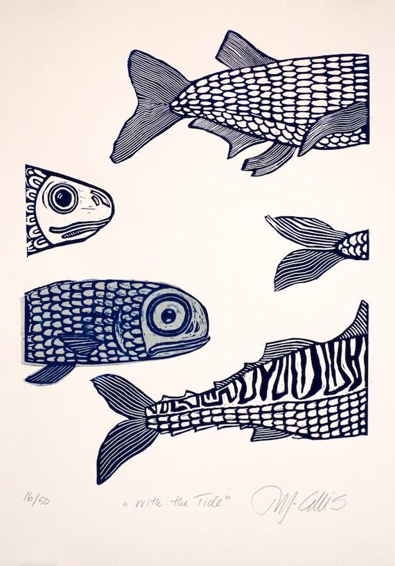 With the tide, a blue handpulled linocut by Mariann Johansen-Ellis