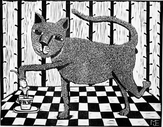 linocut,My Cup of Tea,english humor,cat art,cat lovers,chef,black and white,check,cat,cup,kitchen,food,cook,mouse,tea,teadrinker,table