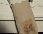 Hand Made Vintage Embroidery Scalloped Cuff  Coton de Osnaberg  French Inspired Christmas Stocking
