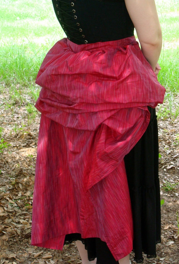 Red Striped Silk Tie-on Long Bustle Overskirt - One Size Fits All