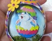Egg, Chicken egg, 3D, Easter, Jolly Rabbit Eggcettera- Real chicken egg with cute 3D scene inside