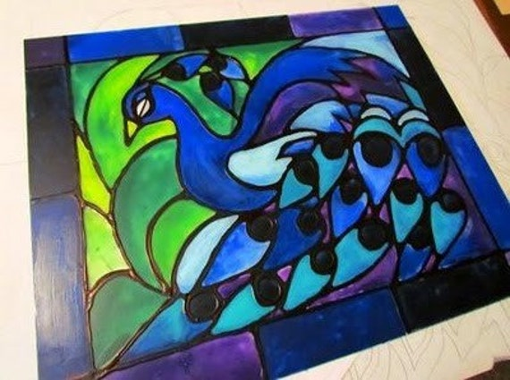 Pattern, Stained Glass, Peacock, peacock, bird, black and white pattern, craft