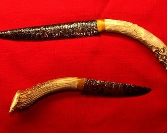 Flint Napped Obsidian Knives With Antler Handles