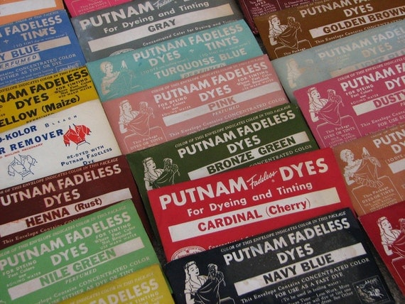 10 packs of putnam fadeless dyes in a rainbow of colors