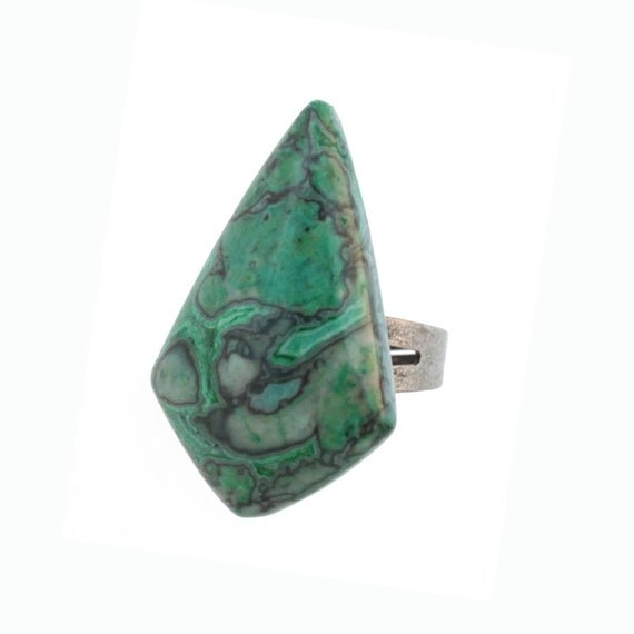 Green Stone Ring - Semi Precious Jasper Ring