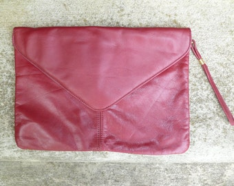Burgundy purse dark red bag Mauve leather Clutch, Genuine Leather maroon oxblood wristlet clutch large leather clutch, large envelope clutch