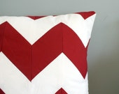 Chevron Stripe Pillow Cover - Red and White - Holiday Decor - Any Size