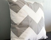 RESERVED for Sheena--Chevron Stripe Pillow Cover--Gray