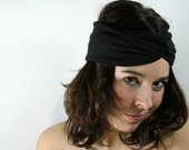 Black as Night Turban Headband Head Wrap