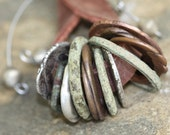 Leather, Metal Clay and Found Object Lariat-Style Pendant