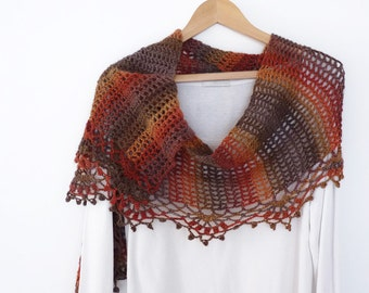 Multicoloured crochet scarf or stole with decorative lace border