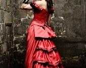 Victorian red wedding dress tuxedo