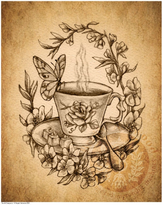 items similar to victorian steampunk tea cup butterfly art print brigid ashwood on etsy. Black Bedroom Furniture Sets. Home Design Ideas