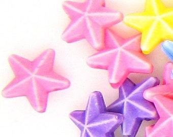 C081- 50pcs Little Starfish Plastic Beads -Mix Colors