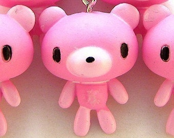 B402- 4pcs Pink Bear Bear Plastic Charms