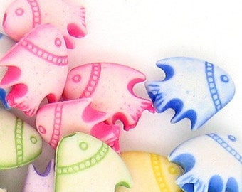 C080- 50pcs Little Tropical Fish Plastic Beads -Mix Colors