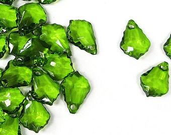 C117- 50pcs Green Faceted Tear Drop Plastic Beads