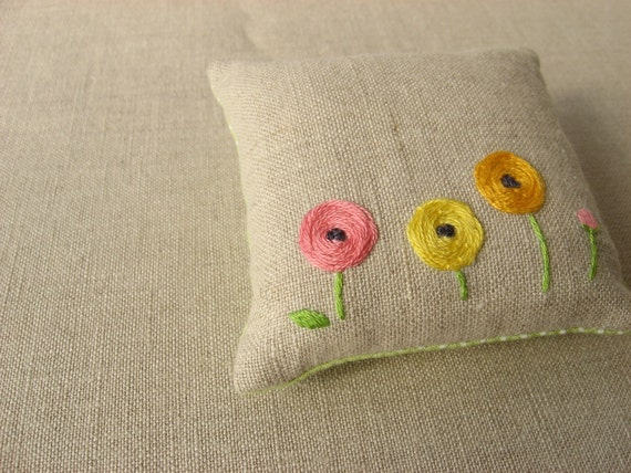 Colorful Ranunculus Hand Embroidered Pincushion