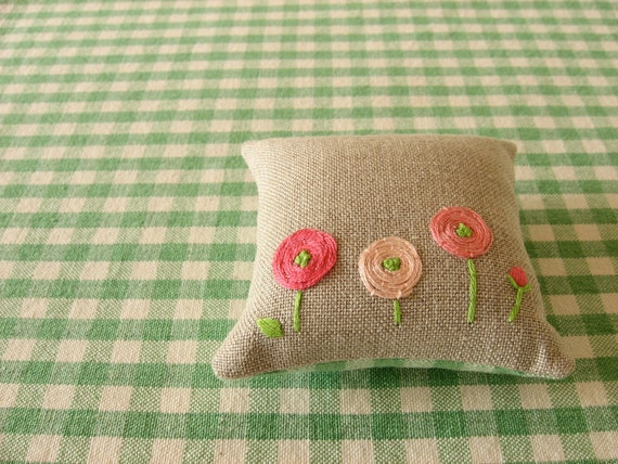 Pink Ranunculus Hand Embroidered Pincushion