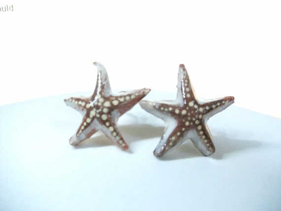 starfish earrings...ceramic.... patterened after tiny starfish.