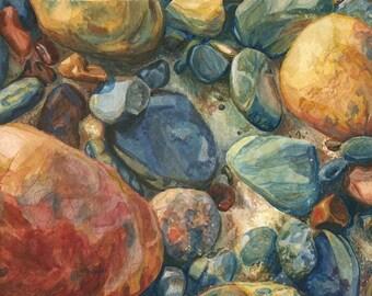 Lake Superior Stones Watercolor Print