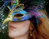 Juno Peacock Venetian Mardi Gras Carnival Paper Mache Masquerade Mask