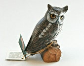 Great Horned Owl hand carved and painted wood, John Madison Co