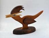 Wooden roadrunner note holder bird vintage