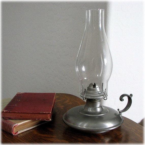 International Silver Company pewter oil or kerosene lamp and shade vintage