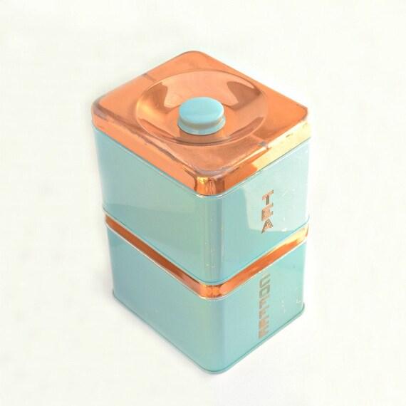 Coffee tea tin boxes set of 2