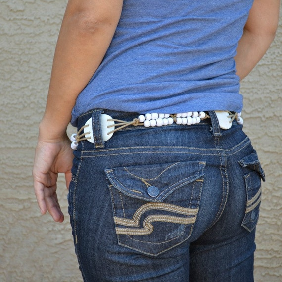 Macrame belt mother of pearl vintage boho bohemian belt