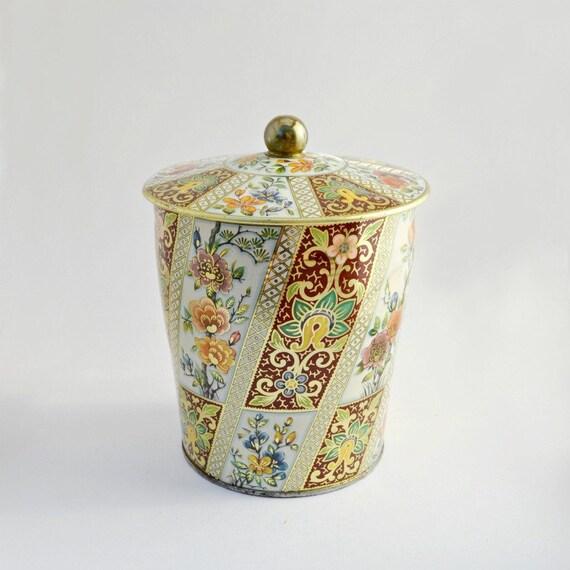Decorated metal tin box oriental floral design