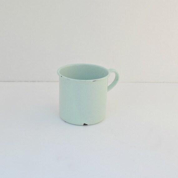 Vintage enamel steel cup mint