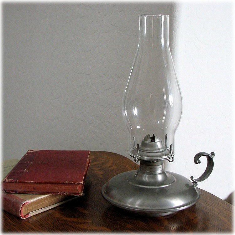International Silver Company Pewter Oil Or Kerosene Lamp And